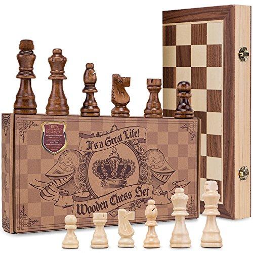 aGreatLife Holz - Schachspiel: Universales Standard Holz Schachbrettspielsatz - Handgefertigte Holzspielstücke, Schachfiguren - mit 15-Zoll Brett und Mit Magnetverschluss - Perfektes Anfänger - Schachspiel für Kinder