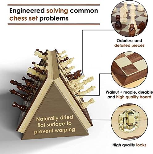 aGreatLife Holz – Schachspiel: Universales Standard Holz Schachbrettspielsatz – Handgefertigte Holzspielstücke, Schachfiguren – mit 15-Zoll Brett und Mit Magnetverschluss – Perfektes Anfänger – Schachspiel für Kinder - 3