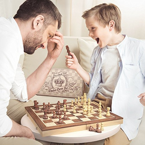 aGreatLife Holz – Schachspiel: Universales Standard Holz Schachbrettspielsatz – Handgefertigte Holzspielstücke, Schachfiguren – mit 15-Zoll Brett und Mit Magnetverschluss – Perfektes Anfänger – Schachspiel für Kinder - 6