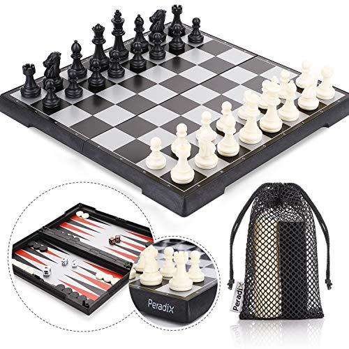 Peradix Schachspiel & Damespiel & BackgammonDeluxe 3-in-1 Schach mit Magnetischem FaltbaremSchachbrett Groß 30.5*30.5cm