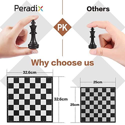 Peradix Schachspiel & Damespiel & BackgammonDeluxe 3-in-1 Schach mit Magnetischem FaltbaremSchachbrett Groß 30.5*30.5cm - 2