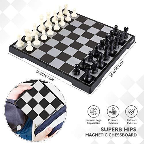Peradix Schachspiel & Damespiel & BackgammonDeluxe 3-in-1 Schach mit Magnetischem FaltbaremSchachbrett Groß 30.5*30.5cm - 4