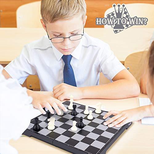 Peradix Schachspiel & Damespiel & BackgammonDeluxe 3-in-1 Schach mit Magnetischem FaltbaremSchachbrett Groß 30.5*30.5cm - 5