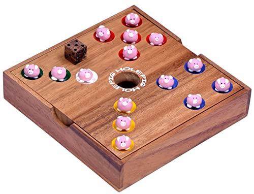 Pig Hole – Big Hole – Schweinchenspiel – Würfelspiel – Gesellschaftsspiel – Brettspiel aus Holz - 3