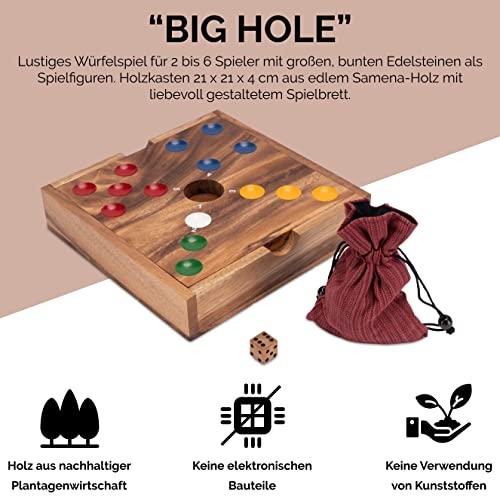 Big Hole – Pig Hole – Würfelspiel – Gesellschaftsspiel – Brettspiel aus Holz mit Edelsteinen - 2