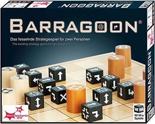 WiWa Spiele 790016 - BARRAGOON - Gewinner MinD-Spielepreis 2016 ( Gesellschaftsspiel Brettspiel Strategiespiel für 2 Spieler ab 8 10 12 Holz Spiel Steine)