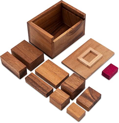 Der rote Stein – 3D Puzzle – Denkspiel – Knobelspiel – Geduldspiel im Holzkasten - 2