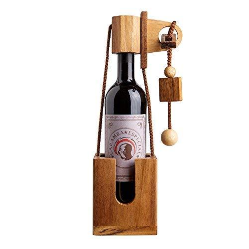Flaschen-Puzzle aus dunklem Edelholz - Geschenk-Verpackung für Weinflaschen - Geduldspiel - Denkspiel - Geschicklichkeitsspiel