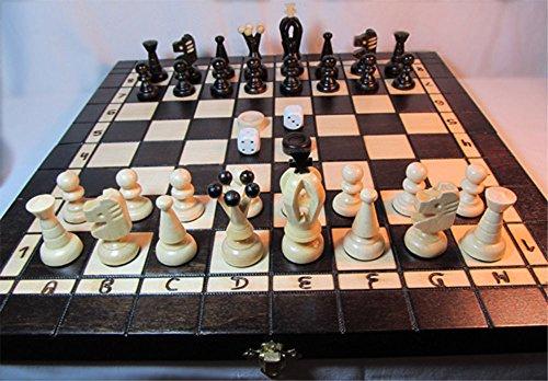 ChessEbook Schachspiel + Dame + Backgammon 35 x 35 cm Holz