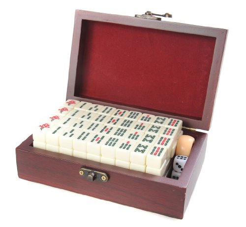 Mahjong / Majiang set, Spielsteine aus weißem Elfenbeinimitat in edler Holzschatulle (17cm x 11cm x 6cm) (MJ001-01 DE)