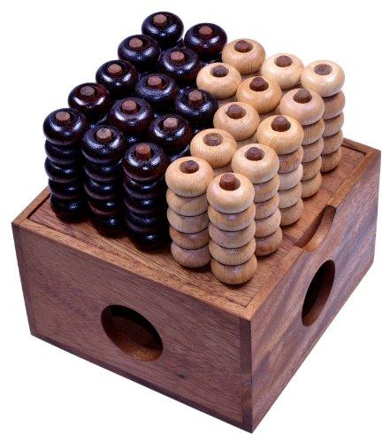 Vier in einer Reihe 3D 5x5 - 3D Bingo 5x5 - Raummühle - Viererreihe 3D - Strategiespiel - Denkspiel aus Holz