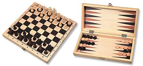 Schach- / Backgammon / Dame Kassette faltbar. Holzkassette