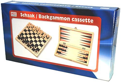 Schach- / Backgammon / Dame Kassette faltbar. Holzkassette - 2