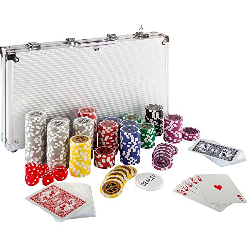 Ultimate Pokerset mit 300 hochwertigen 12 Gramm METALLKERN Laserchips, inkl. 2x Pokerdecks, Alu Pokerkoffer, 5x Würfel, 1 x Dealer Button, Poker, Set, Pokerchips, Koffer, Jetons