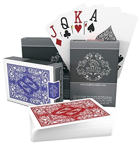 2x wasserfeste Designer Plastik Spielkarten von Bullets Playing Cards - Jumbo Index - 2 Eckzeichen - rot und blau / Pokerkarten Poker
