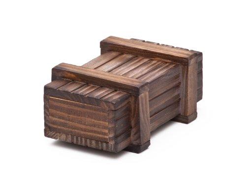 Magische Geschenkbox aus dunklem Holz -Trickkiste für Geldgeschenke - Standard-Variante - Knobelspiel - Verpackung für Geschenke - 10,5 cm x 6,5 cm x 4 cm