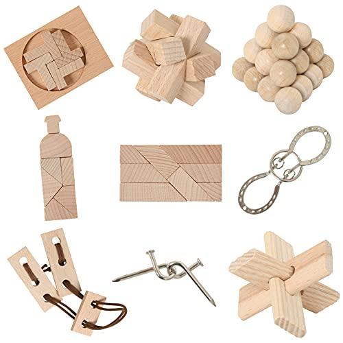 8 beliebte Knobelspiele aus Holz und Metall im Spar-Knobel-Pack